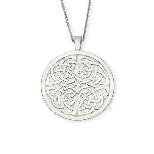 Round Celtic Knot Work interflow Sterling Silver Pendant