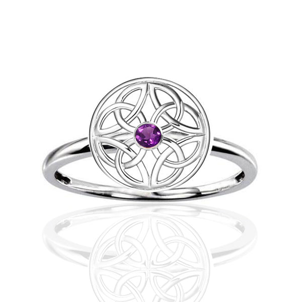 Four Celtic Amethyst Trinity Knot Signet Ring