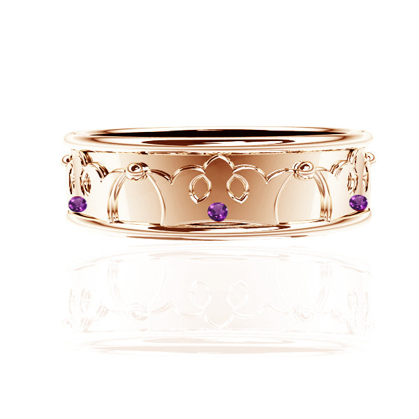 ROYAL EDINBURGH LUCKENBOOTH AMETHYST YELLOW GOLD WEDDING RING