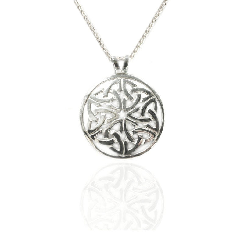 Celtic Knot Work Line of Life Silver Round Pendant