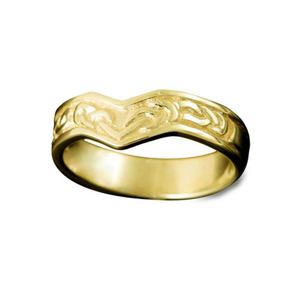 Ladies Bruray Celtic Knotwork Wishbone Ring in Yellow Gold