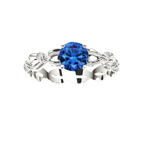 SCOTTISH THISTLE EDINBURGH CELTIC TWIST SAPPHIRE ENGAGEMENT RING