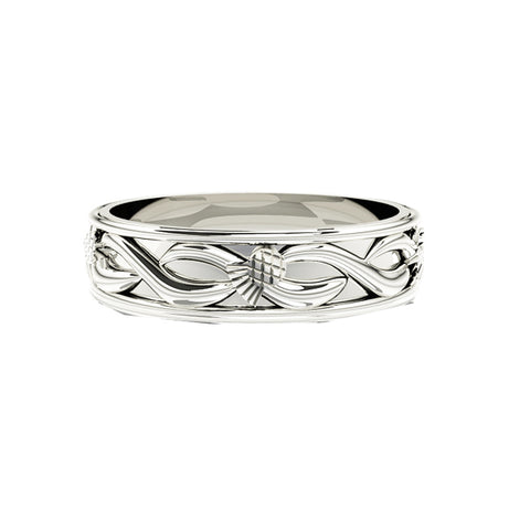 Solid Scottish Thistle Edinburgh Celtic Twist Wedding Ring