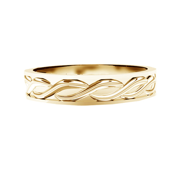 Solid Scottish Edinburgh Celtic Twist Wedding Ring in yellow gold