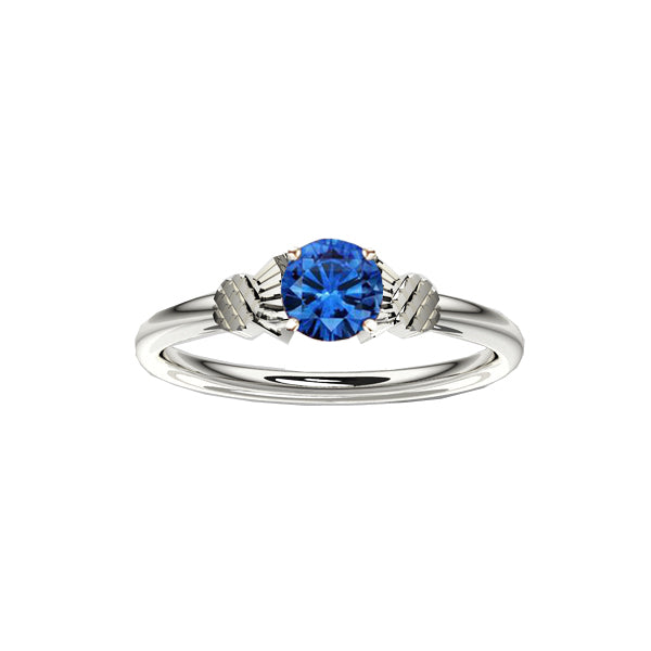Dainty Scottish White Gold Thistle Ring with Sapphire