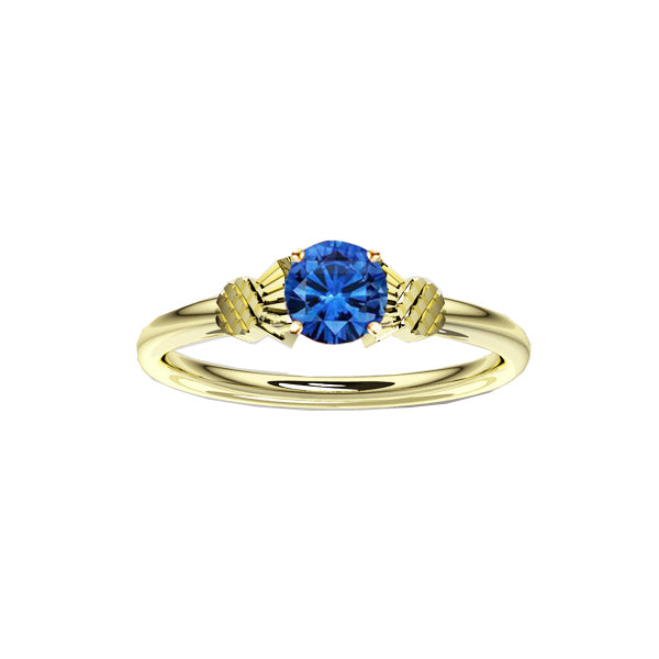Dainty Yellow Gold Scottish Thistle Ring with Sapphire