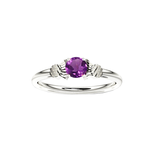 Dainty Scottish Thistle Ring with Amethyst in Silver