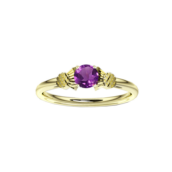 Dainty Scottish Thistle Ring with Amethyst in Gold