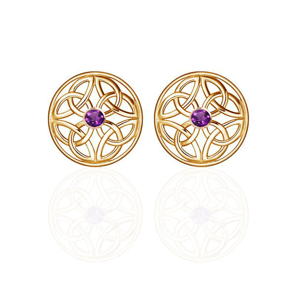 Gold Four Trinity Celtic Knot Eternal Amethyst Round Stud Earrings