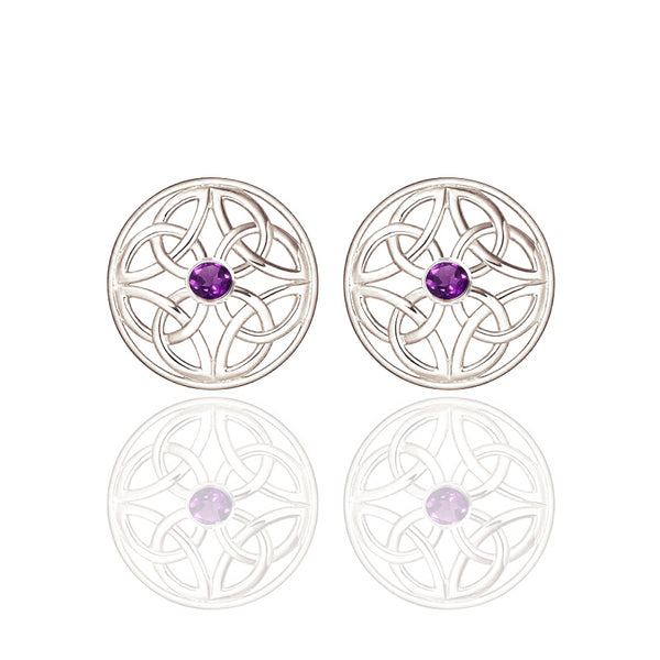 Silver Four Trinity Celtic Knot Eternal Amethyst Round Stud Earrings