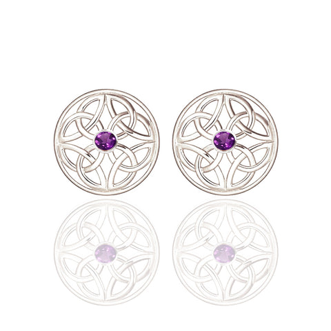 Four Trinity Celtic Knot Eternal Amethyst Round Stud Earrings