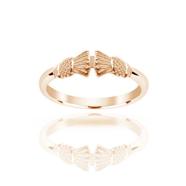 Gold Traditional Edinburgh Scottish Thistle Torque Ring