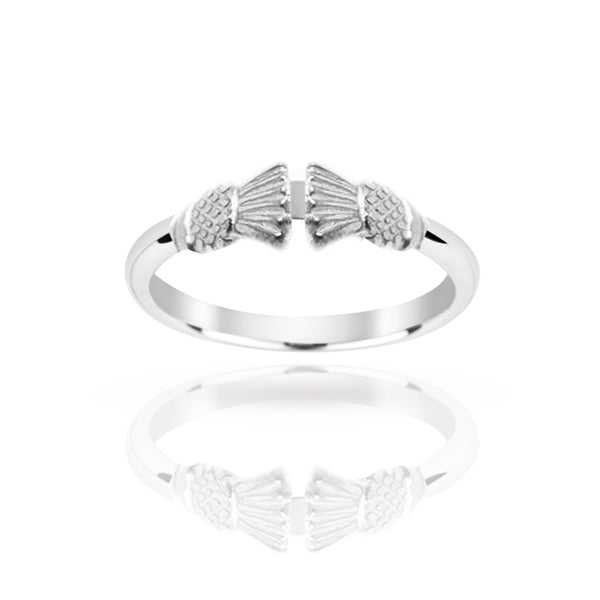 Silver Traditional Edinburgh Scottish Thistle Torque Ring