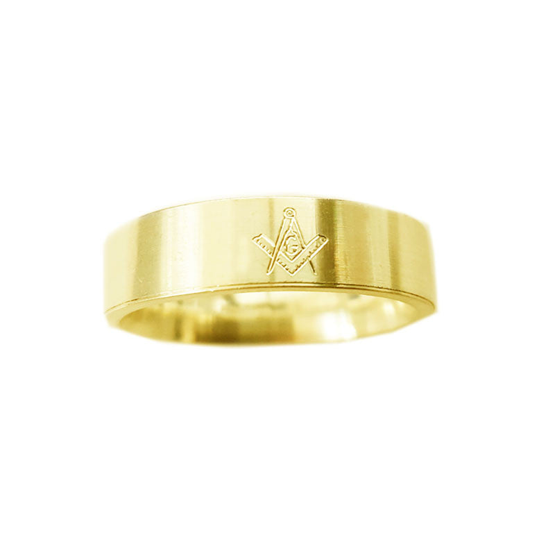 Engraved Masonic Flat Band Ring in 9 ct Yellow Gold