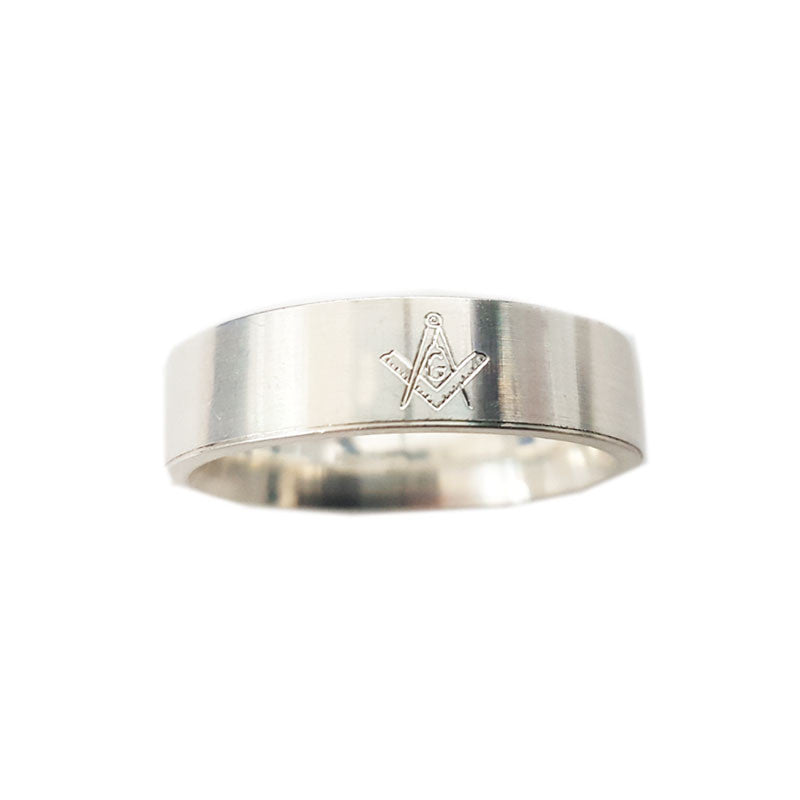 Engraved Masonic Flat Band Ring in Silver