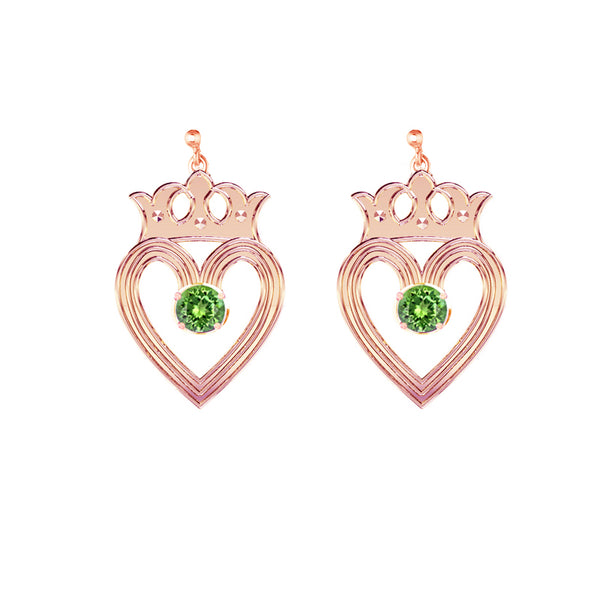 Edinburgh Luckenbooth Peridot Drop Earrings in rose gold