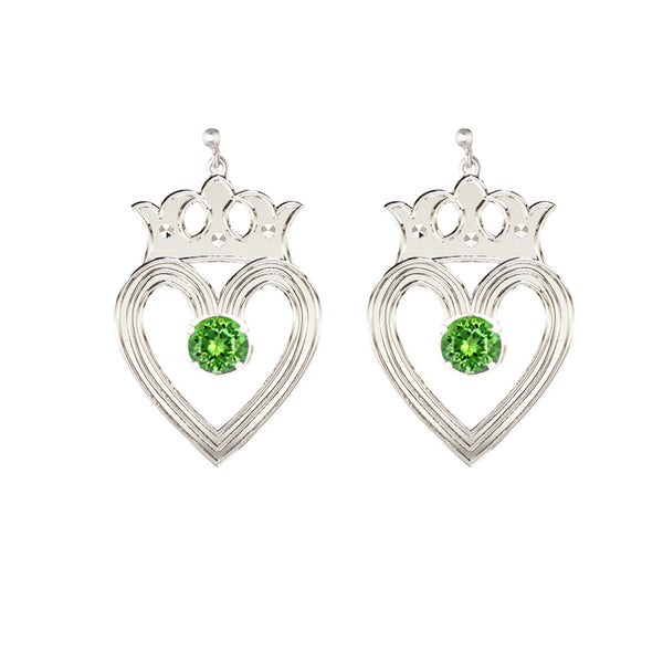 Edinburgh Luckenbooth Peridot Drop Earrings in silver