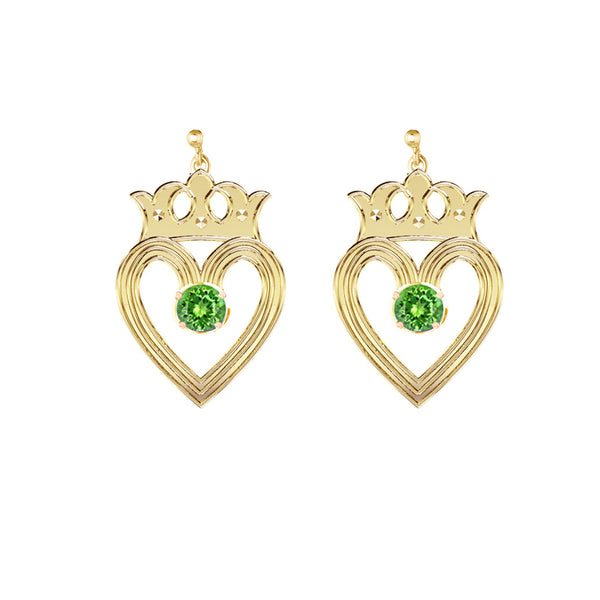Edinburgh Luckenbooth Peridot Drop Earrings in yellow gold