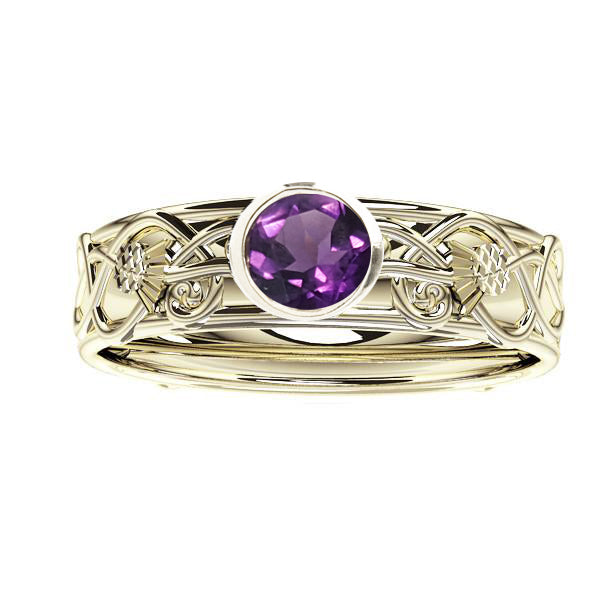 Scottish Thistle Edinburgh Celtic Amethyst Ring