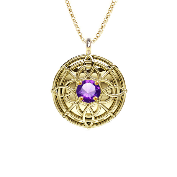 Celtic Amethyst Shield Necklace