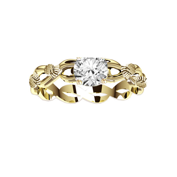 SCOTTISH THISTLE EDINBURGH CELTIC TWIST DIAMOND ENGAGEMENT RING IN YELLOW GOLD