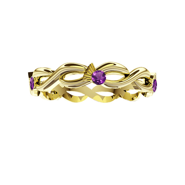 Scottish Thistle Edinburgh Celtic Twist 5 Amethyst Ring