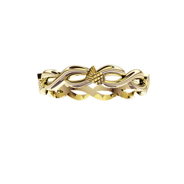 Scottish Thistle Edinburgh Celtic Twist Wedding Ring in gold