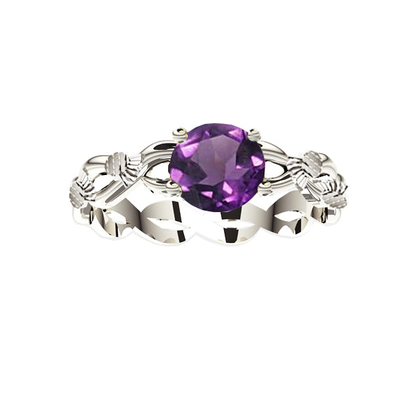 Scottish Thistle Edinburgh Celtic Twist Amethyst Ring in White Gold