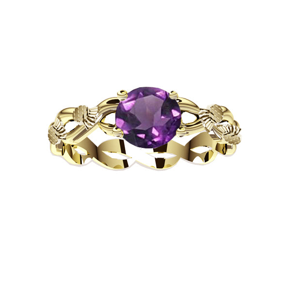 Scottish Thistle Edinburgh Celtic Twist Amethyst Ring in Yellow Gold