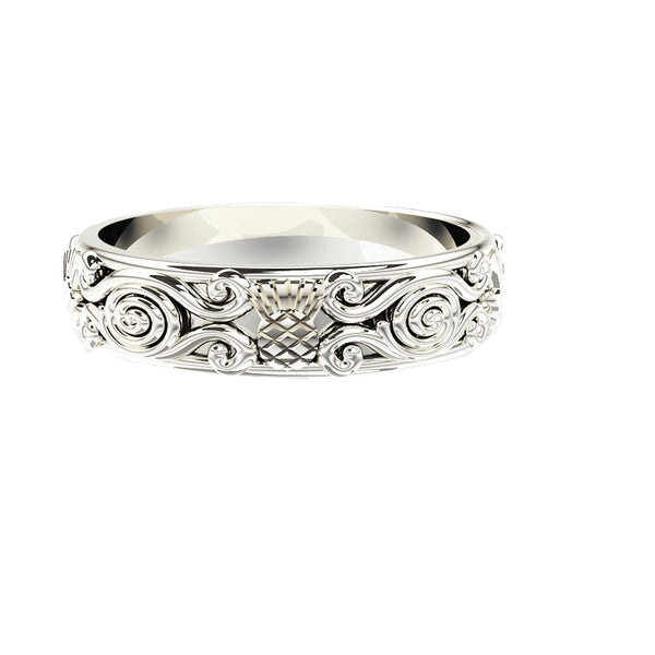 Scottish Thistle Celtic Spiral Viking Wedding Ring in white gold