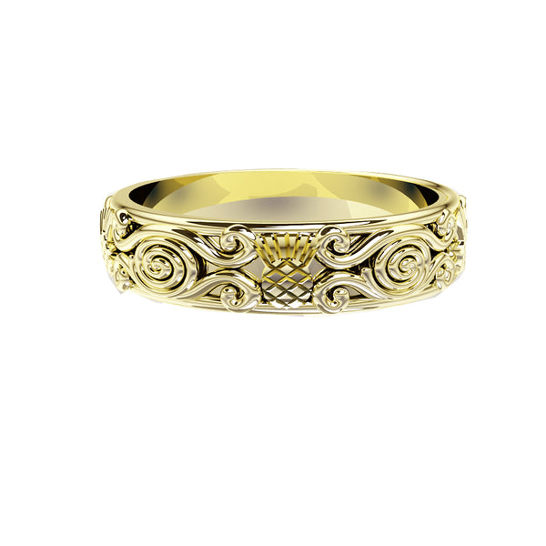 Scottish Thistle Celtic Spiral Viking Wedding Ring in yellow gold