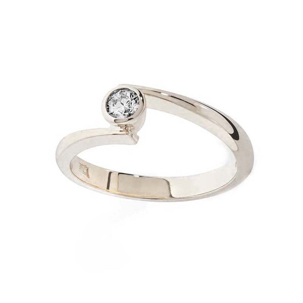 Diamond White Gold Contemporary Engagement Ring- Tappit Hen Gallery