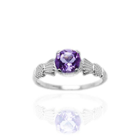 Amethyst Thistle Ring In Silver