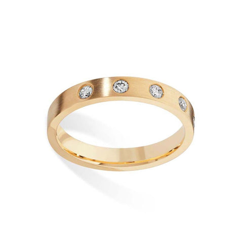 5 Diamond Gold Wedding Band