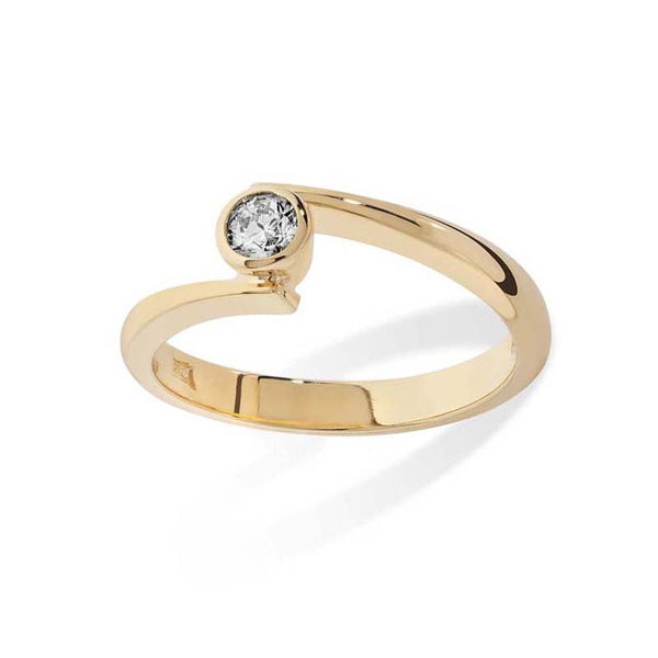 Diamond 9 ct Yellow Gold Contemporary Engagement Ring- Tappit Hen Gallery