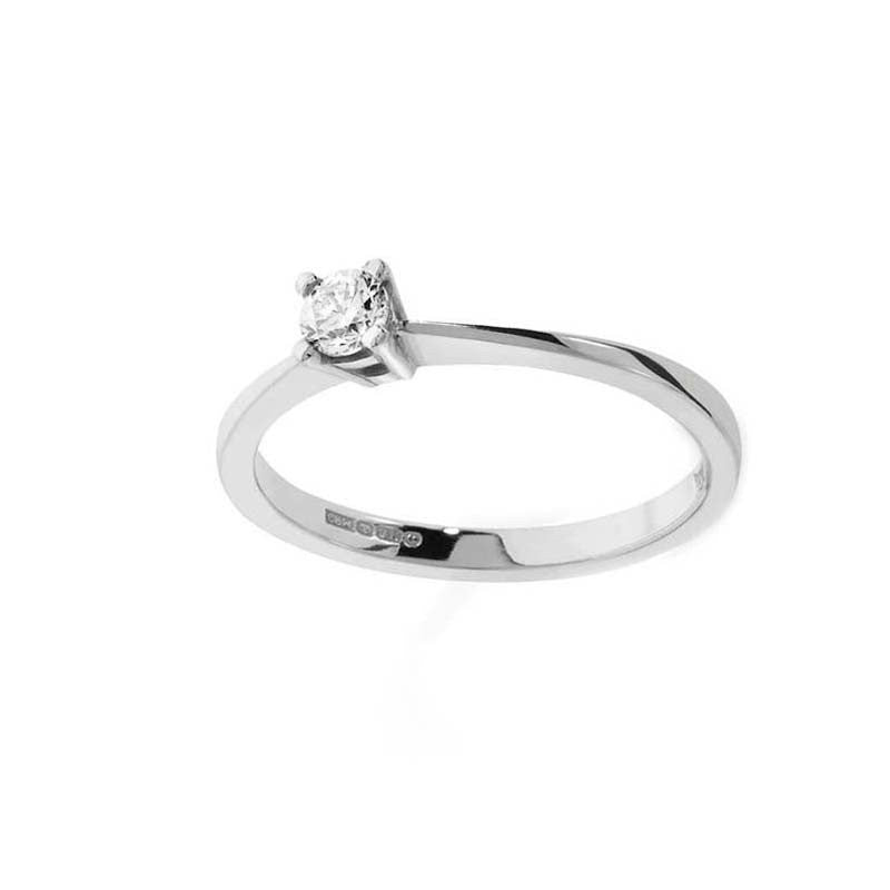 Claw Set Cz Traditional Silver Proposal Engagement Ring