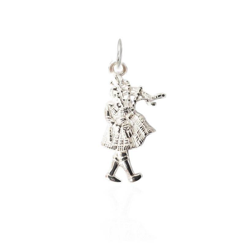 Bagpiper Charm in Silver