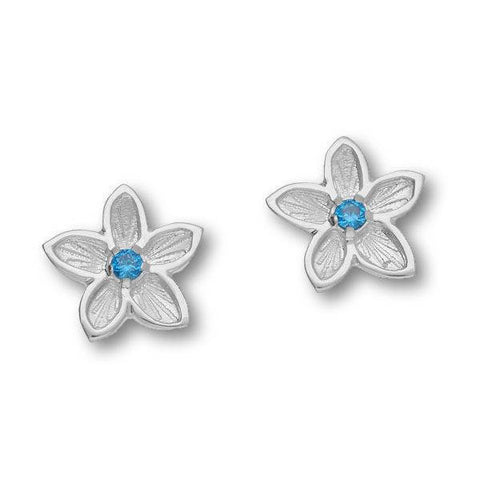 Blue Cubic Zirconia Flower Stud Earrings In Silver