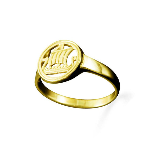 Large Viking Longship Ring in Yellow Gold
