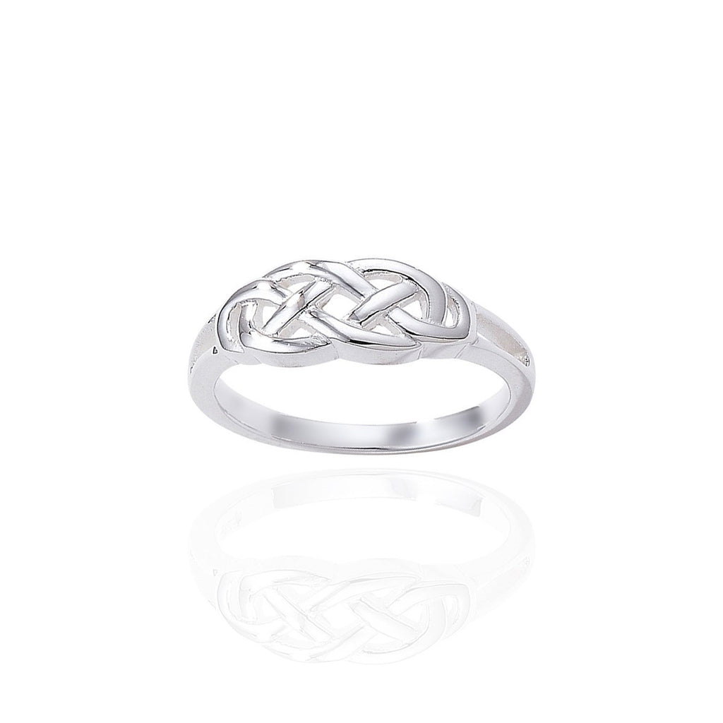 Sterling Silver Celtic Ring with Solid Silver Band