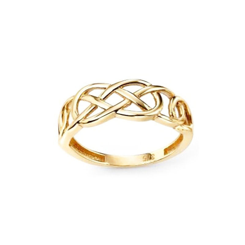 Celtic Pleated Knotwork Ring in Yellow Gold