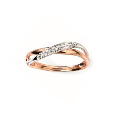 Diamond Twist Engagement Ring in White and Rose Gold