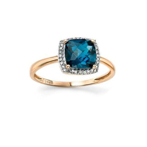 Diamond & London Blue Topaz Engagement Ring in Yellow Gold