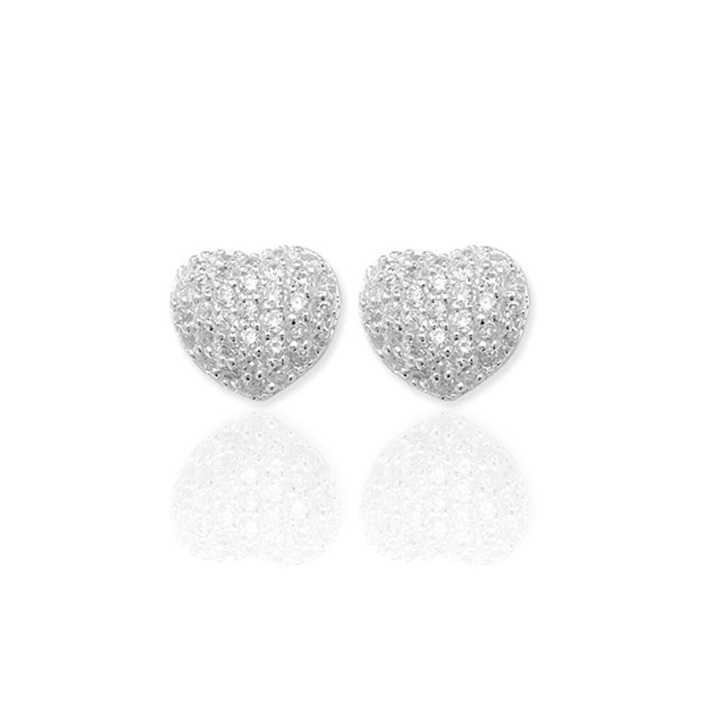 Sterling Silver Pave Heart Studs with CZ's