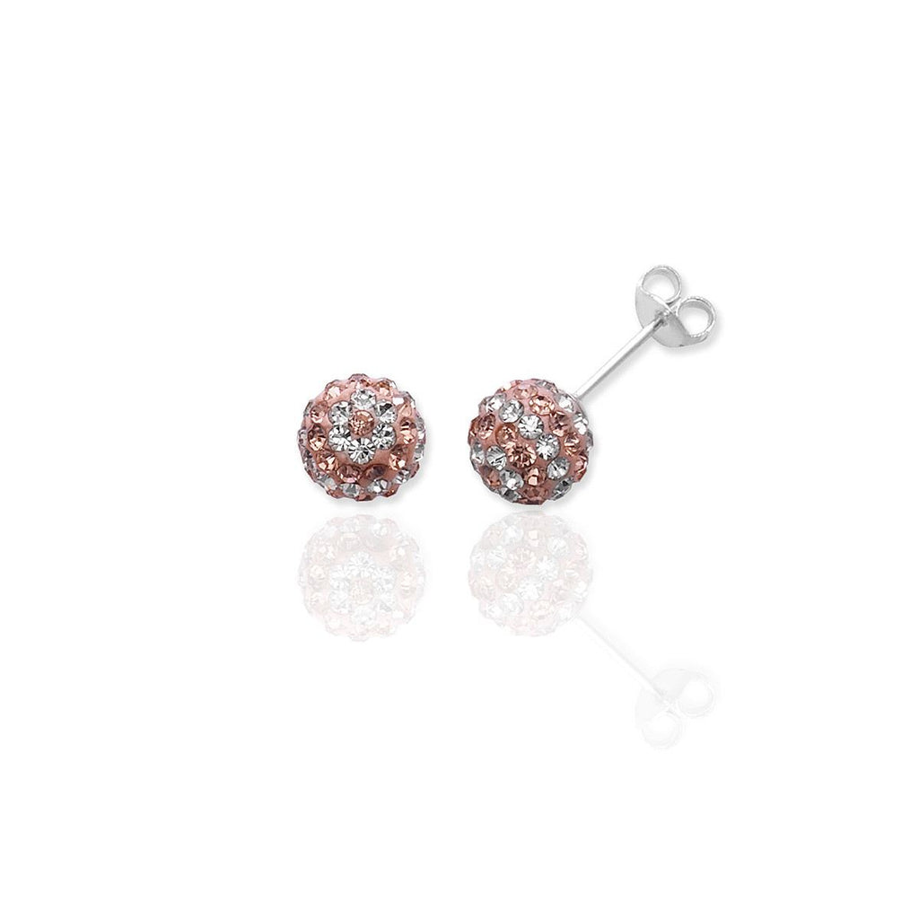 Sterling Silver Studs Champagne and White Crystal Earrings