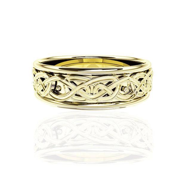 EDINBURGH FOREVER CELTIC KNOT WORK WEDDING RING IN YELLOW GOLD