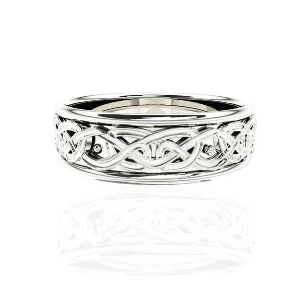 EDINBURGH FOREVER CELTIC KNOT WORK WEDDING RING IN WHITE GOLD