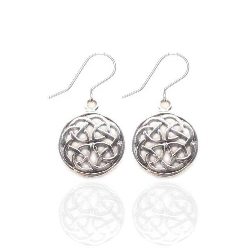 Circular Celtic Knot Earrings in Silver