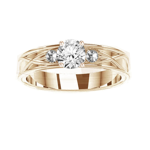 Celtic 3 Diamond Engagement Ring in yellow gold