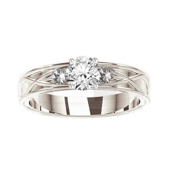 Celtic 3 Diamond Engagement Ring in white gold